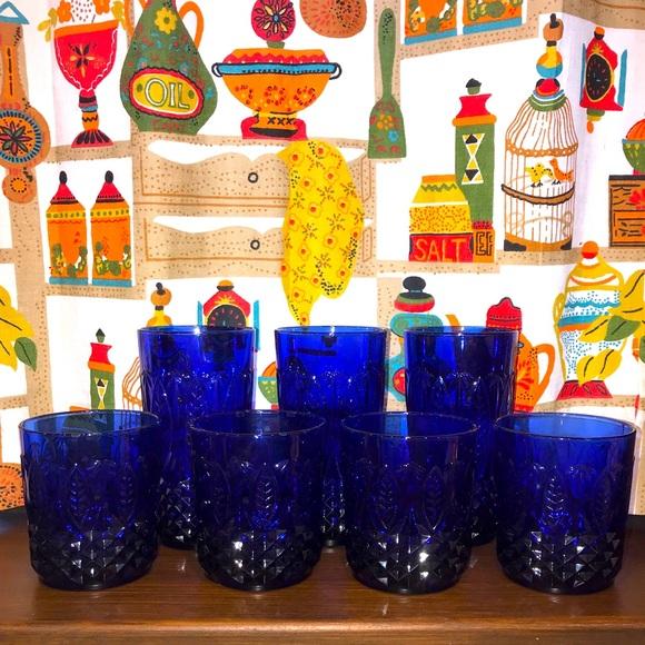 Royal Sapphire Arcoroc Vintage Glasses